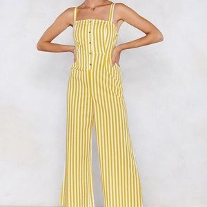 Nasty gal white and yellow jumpsuit NWT
